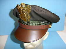 vhc34 WW 2 US Army Officer OD Service Visor Hat  7 3/4