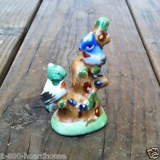 Vintage Original Occupied Japan BIRDS ON TREE Figurine Statue 1930s NOS Unused