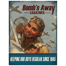 Vintage Wartime Advertisement BOMBS AWAY Quality Metal Wall Sign