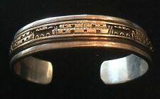 Bruce Morgan Native American 14K Gold Sterling Silver Town Cuff Bracelet Navajo