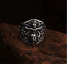 Men's Exaggerated Jesus Retro Punk Stainless Steel Ring Personality Size-9