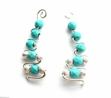 Genuine Turquoise Pressed Ear Cuff Wrap Earrings Pin Trails up Ear Silver Plated