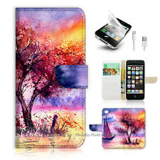 iPhone 5 5S Print Flip Wallet Case Cover! Abstract Tree Painting P0535