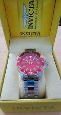 Brand New Invicta Red Face 46mm Pro Diver Quartz Stainless Steel Bracelet Watch