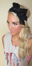 Black Wide Bow Stretch Lace Thick Hair Head Band Choochie Choo Festival Summer