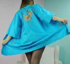 PEARLS Blue Embroidered Drakon long dressing  gown cover up robe M