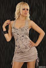 Sexy Shirt Minikleid Strechtkleid Kleid geblümt Blumen Spitze Frappe Braun M / L