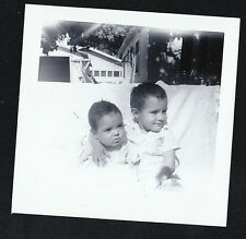 Vintage Photograph Cute Little Children Sitting Outside in Snow With No Coats On