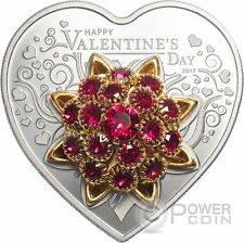 HAPPY VALENTINE DAY 3D Swarovski Heart Shaped Silver Coin 5$ Cook Islands 2017