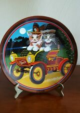 """IN MY MERRY OLDSMOBILE"" CATS PLATE BY ANNA PERENA"