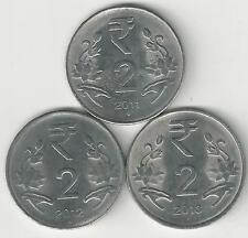 3 DIFFERENT 2 RUPEE COINS from INDIA - 2011, 2012 & 2013 (ALL MINT MARK B)