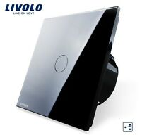Wechselschalter 1 Gang 2 Wege Touchscreen Livolo Schwarz Glas VL-C701S-12