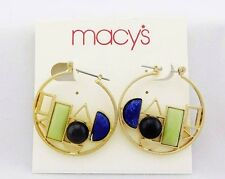 MACY'S Gold-Tone Geometric Multi-Stone Hoop Earrings Msrp $20.50 *NEW WITH TAG*