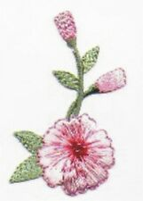 Long Pink Carnation Flower Floral Embroidery Applique Patch with Beads