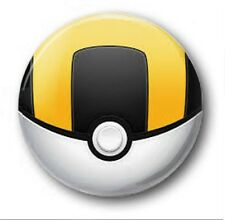 "25mm 1"" Button Badge - ULTRABALL design - Kids Retro TV Pokeball Pokemon Pikachu"