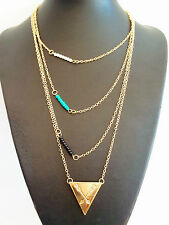 Free Spirit Gold Chain Triangle Bohemian Gypsy People Multi layered Necklace