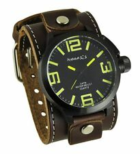 Nemesis Black/Yellow Oversized Round Watch + Brown XL Stitched Leather Cuff Band