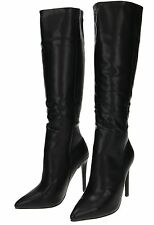 Black Faux Leather Knee High Heel Boots Left SIZE 5 Right SIZE 6 NEW WITH DEFECT