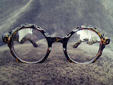 Tortoise Shell Oversized Clear Lens Vintage Retro Round Fashion Glasses 60s 80s