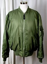 KNOX ARMORY MA-1 ARMY GREEN NYLON ORANGE LINED ZIP REVERSIBLE FLIGHT JACKET XXL