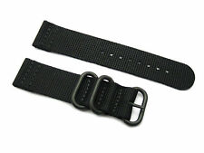HNS 2 Pieces Black Heavy Duty Diver Nylon ZULU Watch Strap With 3 PVD Rings