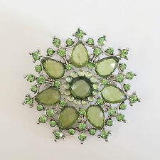 New Olive Green Flower Wedding Party Crystal Round Crystals Brooch Pin BR01428