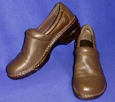 MINTY 9 BORN BOC PEGGY PRO CLOG BROWN LEATHER WOMENS PROFESSIONAL SHOES
