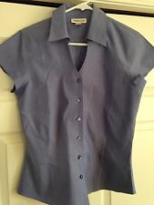 COLDWATER CREEK Womens Blue Chambray Cotton Career Blouse Tailored Shirt Top XS