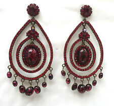 Butler and Wilson Red Cabochon & Crystal Large Gala  Earrings Vintage NEW