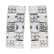 CLIP ON EARRINGS - silver stud earring with crystals and stones - Agatha