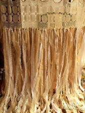 7 ft Shabby Rag Chic Crochet Lace Wedding Backdrop Burlap Garland shower Curtain