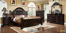 Syracuse Traditional Dark Walnut King Poster Bed 3 Piece Bedroom Furniture Set