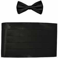 NEW in box men's formal 100% SILK Cummerbund, bowtie set solid BLACK wedding