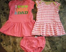 """2 baby girls CARTERS DRESS SETS """"I LOVE MOM & DAD"""" pink EUC! cotton 24 MONTHS"""