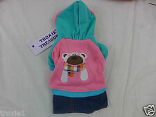 Dog SweatShirt Coat With Hood & Denim Bottom Bear w/Scarf  Blue & Pink M/ L NEW