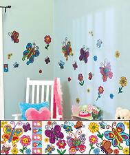 Butterflies Flowers Room Decal Set Colorful Appliqués Outlet Light Switch Cover