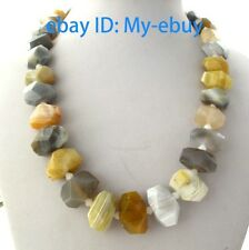 """Faceted Nugget Baroque Multi-Color Agate&White Jade Necklace 20"""""""