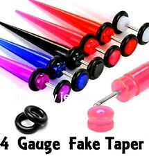 PAIR of 4 Gauge Acrylic Fake Taper w/ O-rings Ear Cheater Plugs (Specify Color)