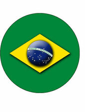 15x BRAZIL 40mm Rice Paper Cup Cake Fairy Toppers OLYMPIC FLAG 4cm BRASIL