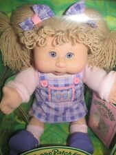 New Play Along Cabbage Patch Kids Blonde Yarn Hair Blue Eye Baby Doll Born 2/8