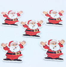 20 Father Christmas Wooden Buttons Santa Claus Fit Sewing Scrapbook 2.8CM*3.5CM