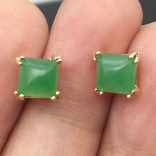 Cute Green Jade Emerald Square Ear Stud Earrings 24K Gold Filled Women Jewelry