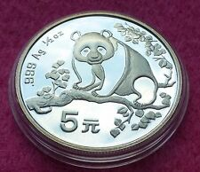 1993  CHINA SILVER PANDA  1/2oz 5 YUAN  BU COIN