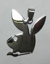 42mm x 29mm Stainless Steel Playboy Bunny w/ Bail PENDANT NECKLACE CHOKER CHARM