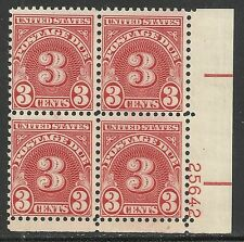 U.S. postage due stamp scott j82 - 3 cent issue of 1931 - plate block of 4 mnh