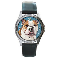 New English Bulldog for Round Metal Leather Watch Free Shipping