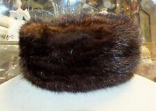 Vintage 60's Dowa NY Hudsons Detroit PILLBOX MINK FUR HAT Dark Brown Striped Cap