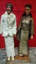 Vintage 1975 Mego Sonny and Cher Dolls Lot of 2