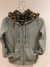 VICTORIA'S SECRET Leopard Print Faux Fur Lined Gray Hoodie Sequins Women's Small