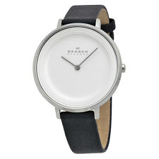 Skagen Ditte Silver Dial Black Leather Ladies Watch SKW2261